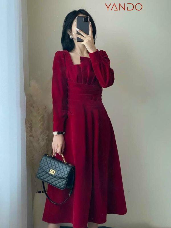 Đầm Xếp Ly Ngực Tay Dài- DA33