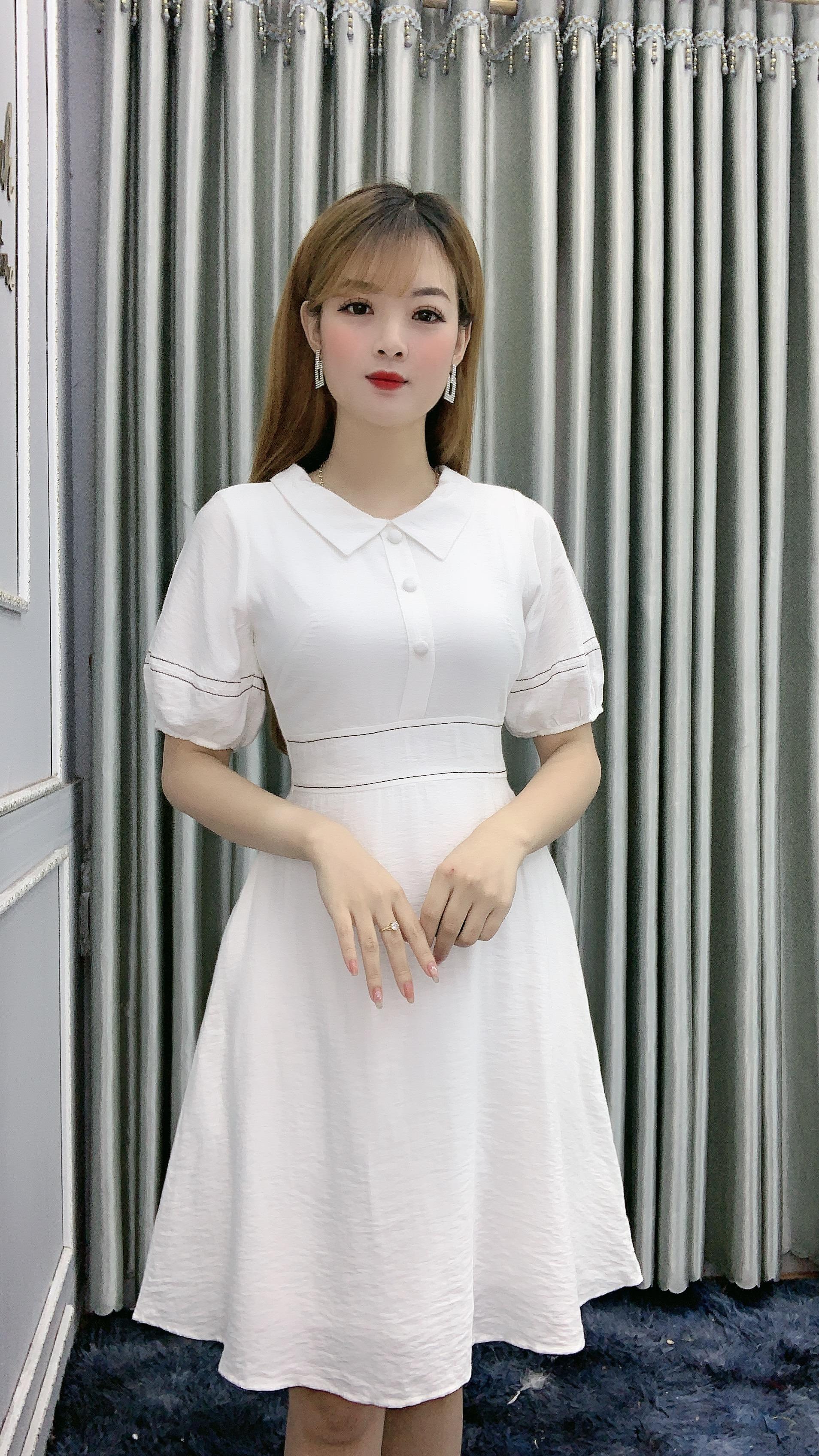 Đầm Xòe Tay Phồng Cổ Bẻ - DA11