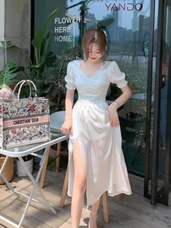 Váy Xẻ Đùi Trắng Dự Tiệc- DA23