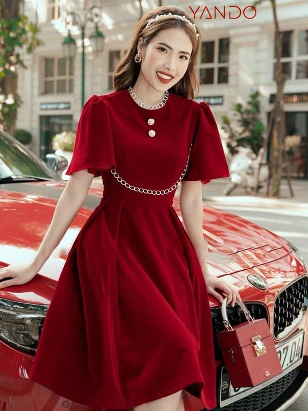 Đầm Đỏ Cổ Ren Cổ Điển- DA31