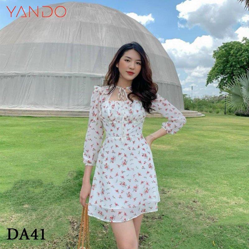Đầm Hoa Nhí Tay Dài Cut-Out Ngực YANDO_DA41