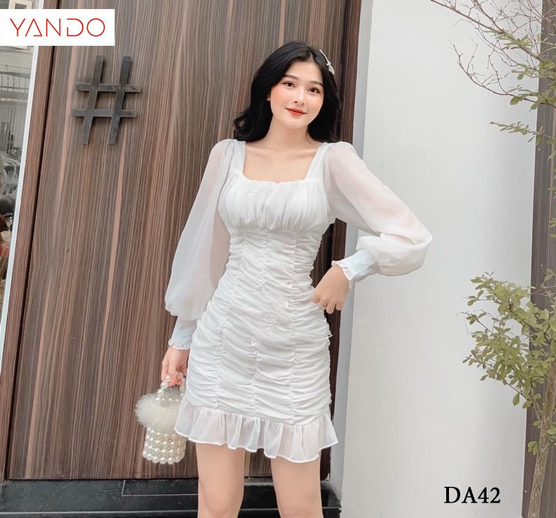 Đầm Nhún Đuôi Cá Tay Voan YANDO_DA42