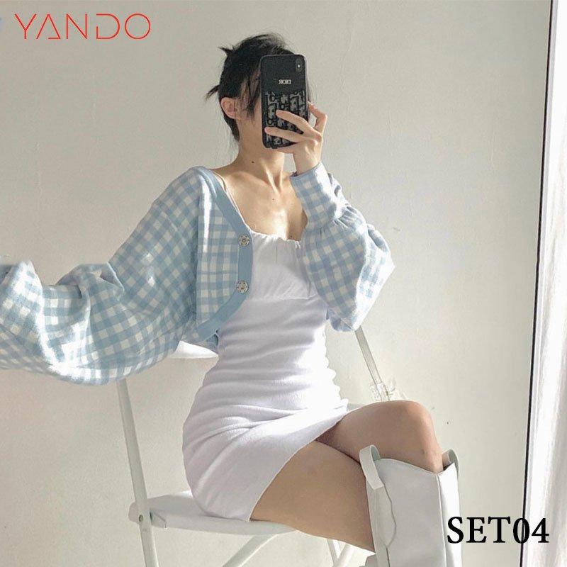 Set Đầm 2 Dây + Áo Khoác Tay Dơi YANDO_SET04
